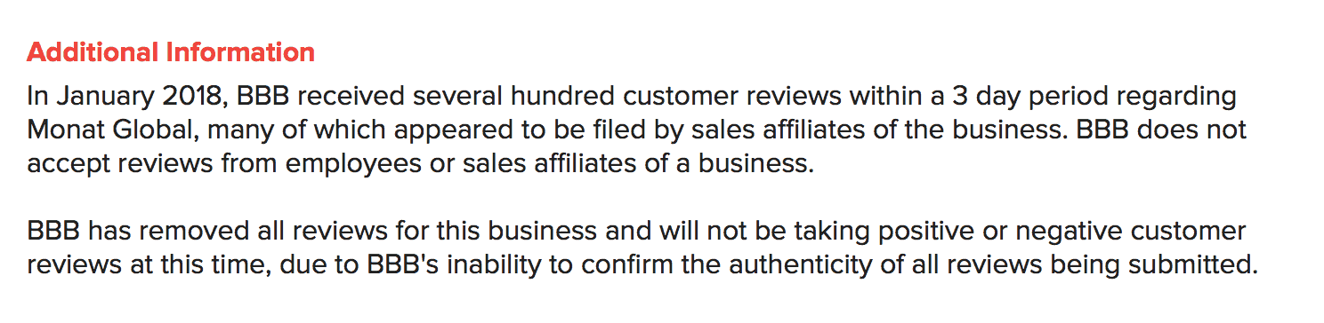 Monat Better Business Bureau