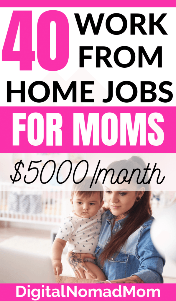 40 Online Jobs for Moms to Work At Home and Make Extra Money #workfromhome #onlinejobs #onlinejobsformoms #workathomejobsformoms