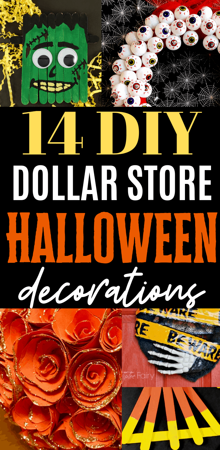 14 DIY Dollar Store Halloween Decorations to make this halloween! I'm so glad I found these - I love decorating my house for Halloween but on a budget. Dollar store Halloween decorations are the best, especially when they're DIY. #halloween #halloweendecor