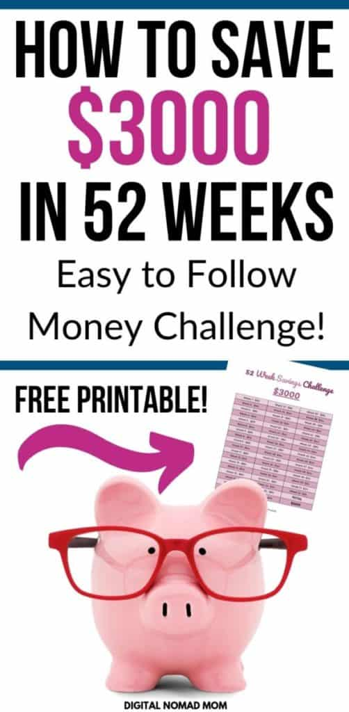 At the end of this 52 week savings challenge you'll have saved $3000. This money savings challenge is easy to follow and includes a free printable you can download and follow along with! #moneysavingchallenge #savingschallenge #52weekchallenge