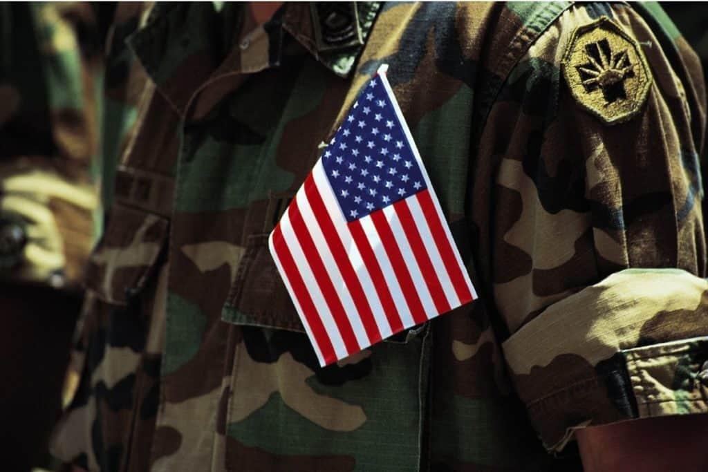us flag in soldier pocket