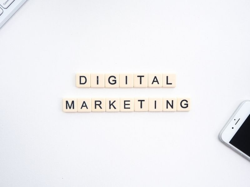 digital marketing spelled out with scrabble pieces