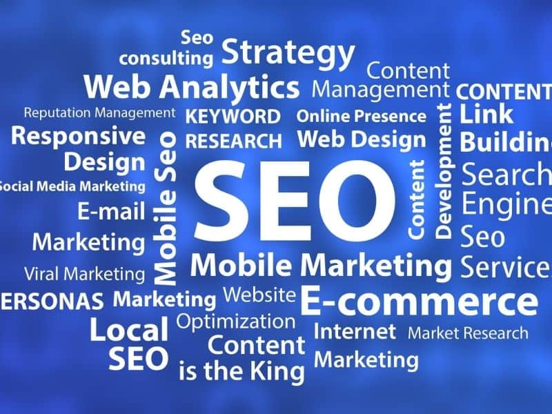 balue background with seo words in all different directions