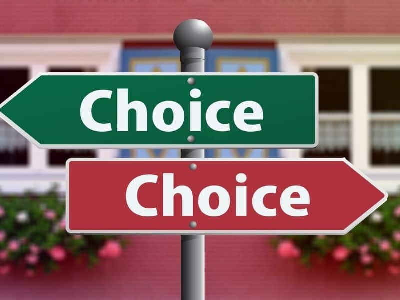 """a red a green sign with """"choice"""" written on each"""