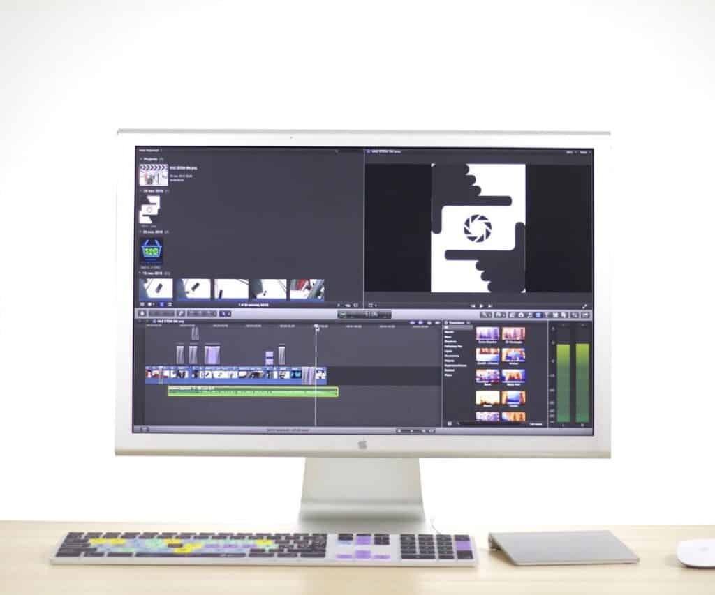 a cimputer screen showing video editing software