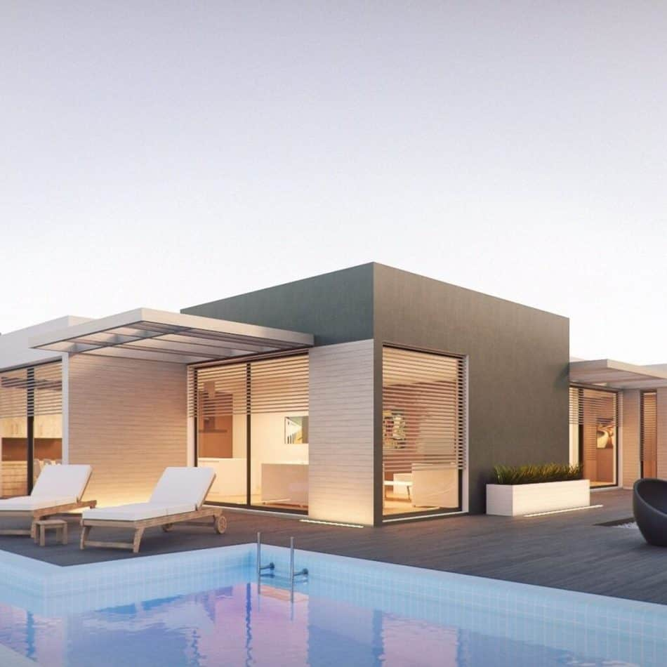 a modern style house with a pool in the front